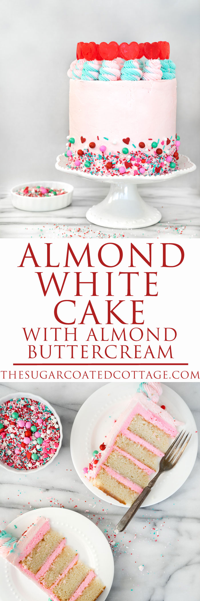 Valentines Day Almond Cake. Cake scented with the light flavor of almond frosted in a traditional american buttercream. #layercake #cake #valentinesday | thesugarcoatedcottage.com