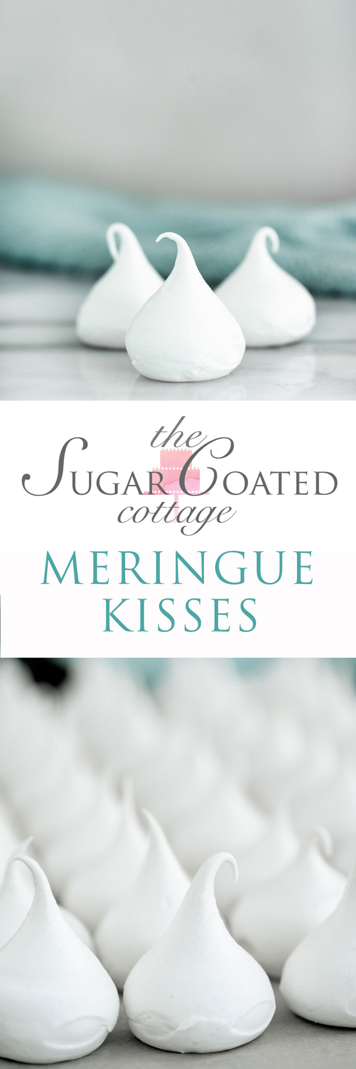 Meringue Kisses Recipe. The perfect dollop of meringue baked into a crispy on the outside, chewy on the inside cookie. | thesugarcoatedcottage.com #merignue
