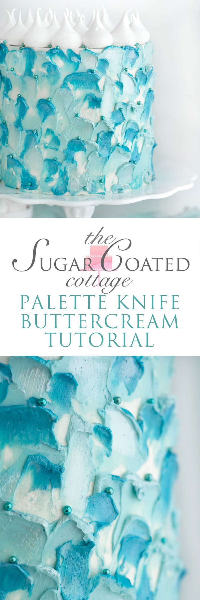 Palette Knife Buttercream Tutorial. Wondering how you can achieve these pretty swoops and shimmery detail? I'll show you how. #cakedecorating #buttercream