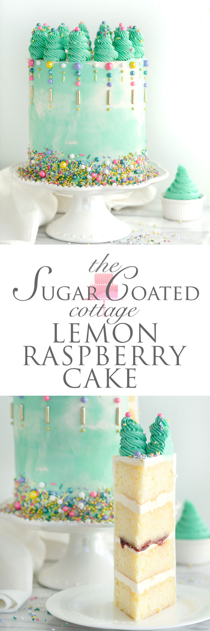 Lemon Raspberry Cake Recipe. Plus my classy cake hacks! | thesugarcoatedcottage.com #cake #cakedecorating #cakemixhack #recipe #buttercream #weddingcake