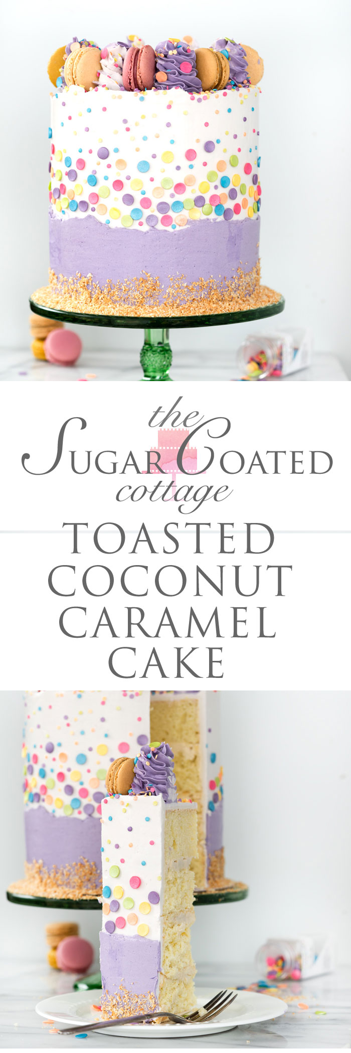 Toasted Caramel Coconut Cake Recipe. | thesugarcoatedcottage.com #cake #coconutcake #cakedecorating #buttercream #layercake #caramel