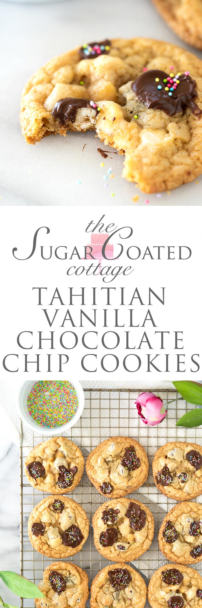 Tahitian Vanilla Chocolate Chip Cookie Recipe. The best you'll ever have! | thesugarcoatedcottage.com #chocolatechipcookie #cookie #recipe #chocolate
