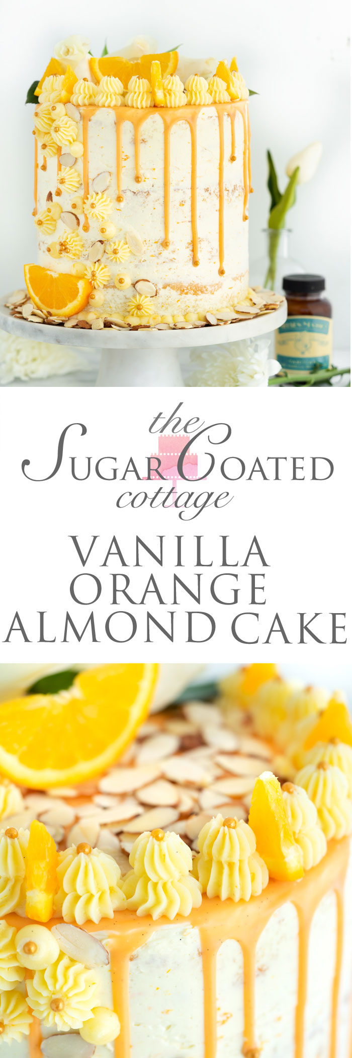 Vanilla Orange Almond Cake Recipe. Vanilla orange and almond soaked cake with layers of vanilla orange almond buttercream. | thesugarcoatedcottage.com #cake @NielsenMassey