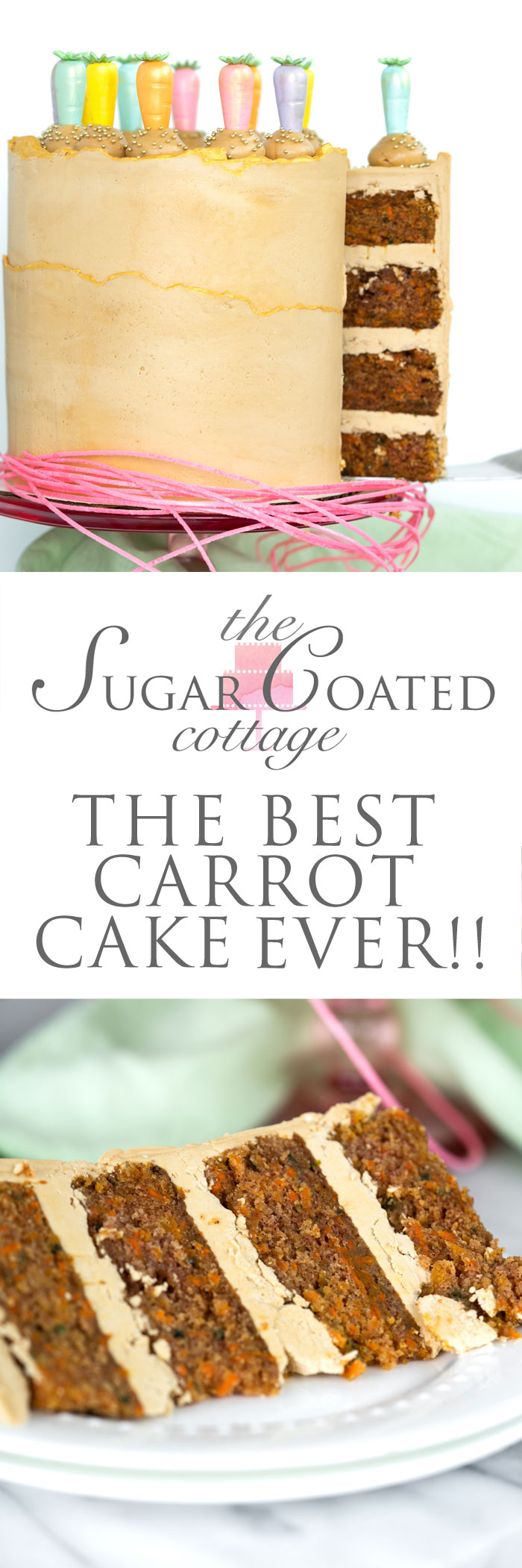 The Best Carrot Cake Recipe Ever. Hands down the most moist, carrot packed, delicious carrot cake recipe ever. | thesugarcoatedcottage.com #carrotcake #cake