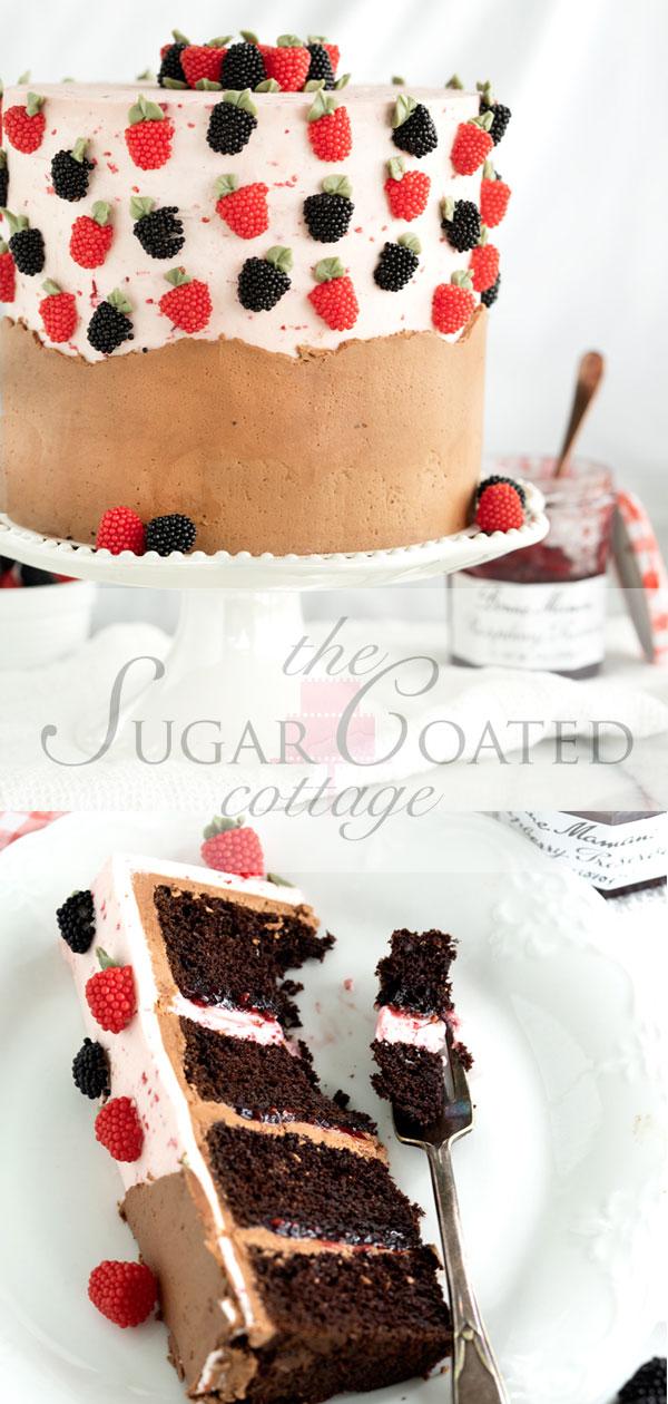 Raspberry Chocolate Cake. Addicting layers of deep chocolate cake. Filled with raspberry and both raspberry and chocolate buttercream! #cake #buttercream