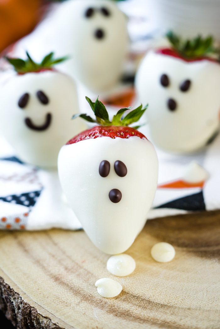 Sweet California Strawberries covered in white chocolate with spooky piped eyes make these a ghostly treat for your halloween party.