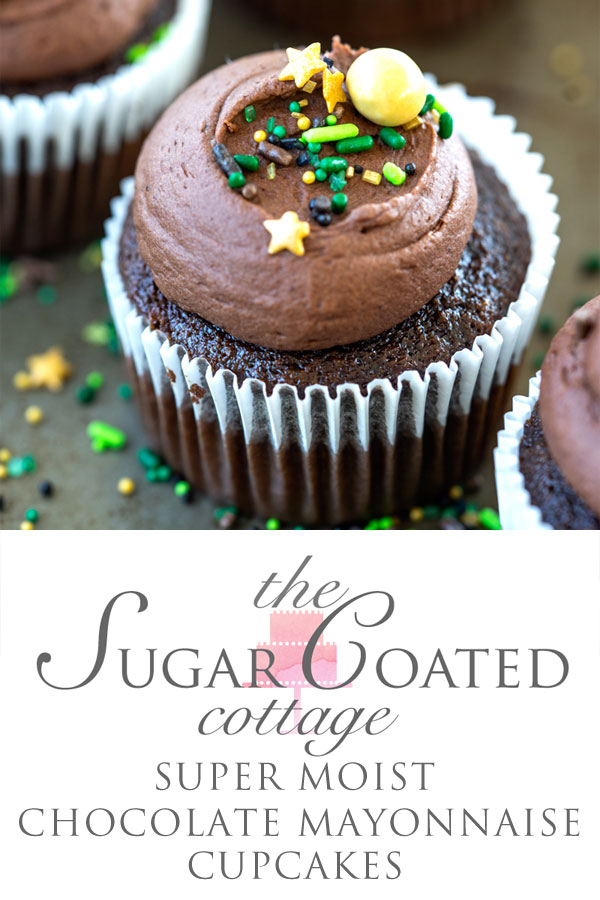 Super Moist Chocolate Mayonaise Cupcakes. Delicious chocolate cupcakes made with mayonnaise. | thesugarcoatedcottage.com #cupcakes #chocolate #dessert #buttercream