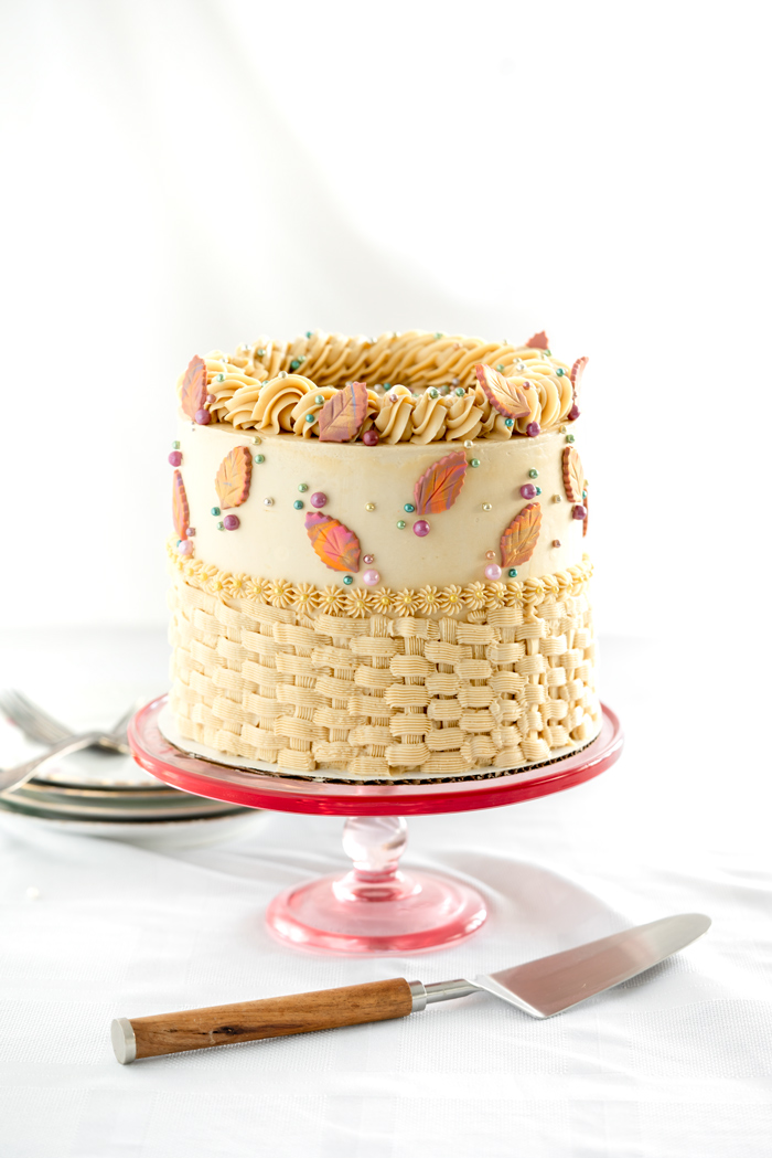 Pumpkin Spice Cake, Salted Brown Sugar Buttercream. Moist pumpkin spice cake coated and filled with salted brown sugar buttercream. #cake #thanksgiving #cakedecorating #dessert
