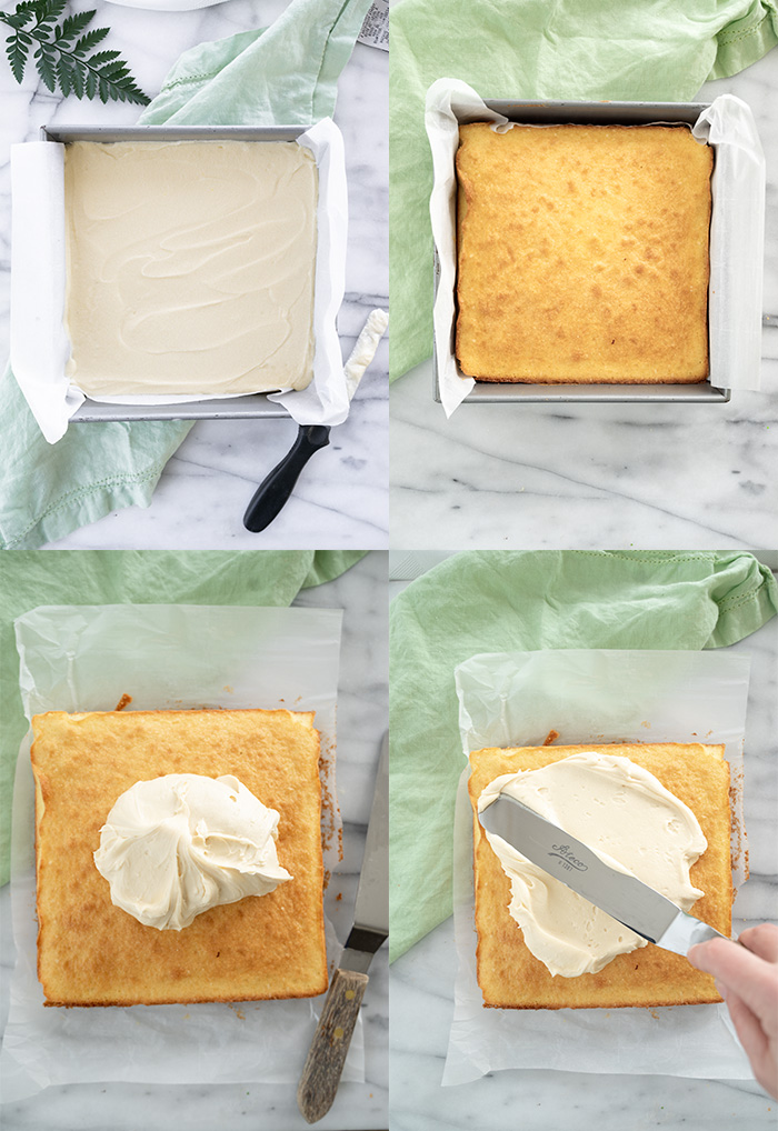 8x8 Classic Vanilla Sheet Cake Recipe. The best classic vanilla cake for your small gathering. | thesugarcoatedcottage.com #sheetcake #cake #buttercream