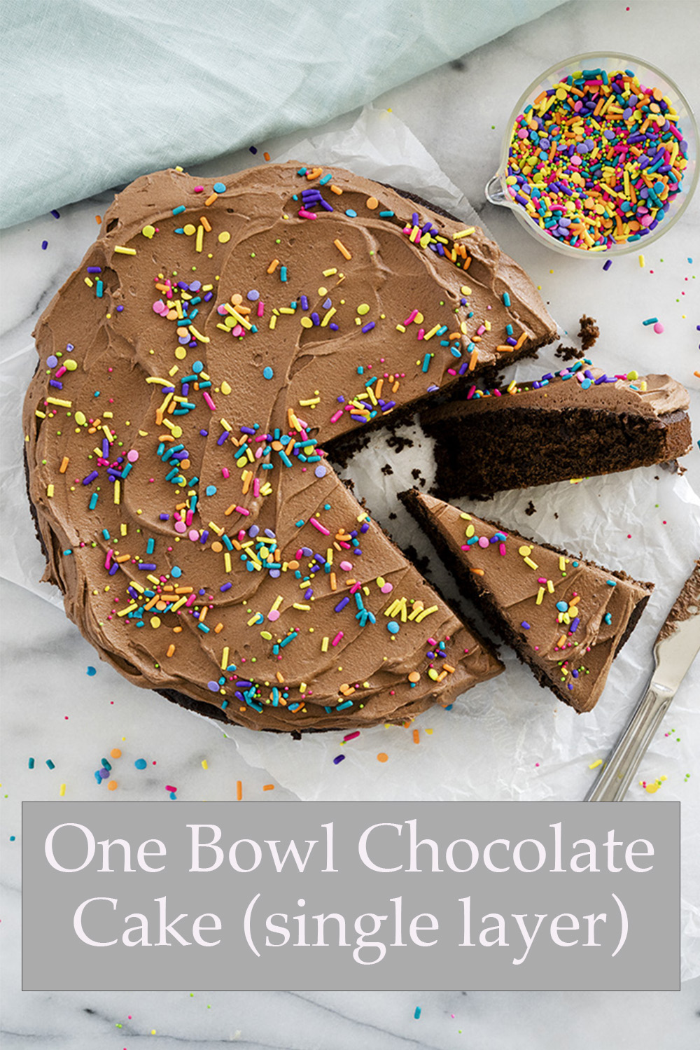 One Bowl Chocolate Cake. All ingredients, one bowl, one spoon (or mixer) and done.