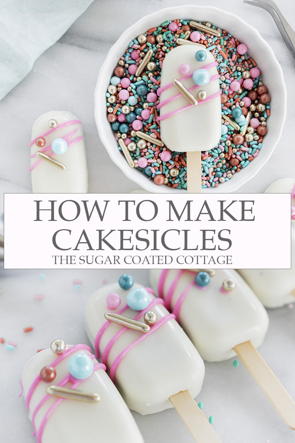 How To Make Cakesicles. A step by step guide to teach you how to make your own cakesicles. #cakesicles #cake #howto #wedding | thesugarcoatedcottage.com